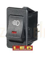 Narva 63026BL Off/On Rocker Switch with Red L.E.D and Driving Lamp Symbol