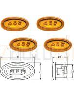 Hella 2034SET LED Side Marker - Amber, 12V DC (Bulk pack of 4)
