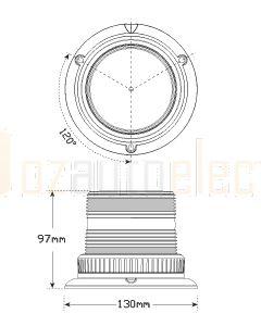 LED Autolamps 128AMM Amber Strobe Beacon Magnetic Mount (Blister)