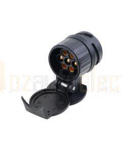 13 Pin Euro Round Socket on Car to 7 Pin Large Round Plug on Trailer