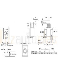 3A Circuit Breakers Panel Mount Series 14 Thread