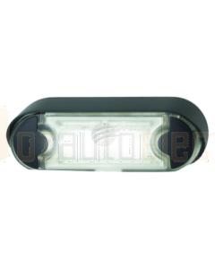 Hella LED Licence Plate Lamp 12/24V Angled Black Flush Mount Housing
