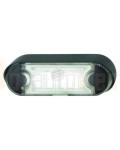 Hella Pack of 16 LED Licence Plate Lamp 12/24V Angled Black Flush Mount