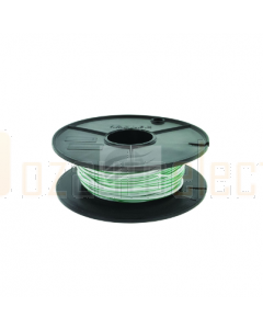 3mm Single Core Cable White with Green Trace 100m