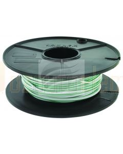3mm Single Core Cable White with Green Trace 30m Roll