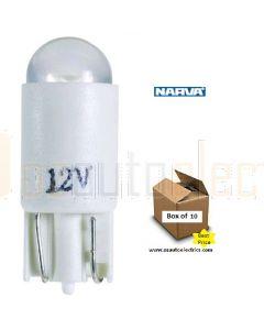 Narva L.E.D Wedge Globes (Box of 10) - White, 12v T-10mm KW2.1 x 9.5d