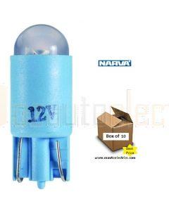 Narva L.E.D Wedge Globes (Box of 10) - Blue, 12v T-10mm KW2.1 x 9.5d