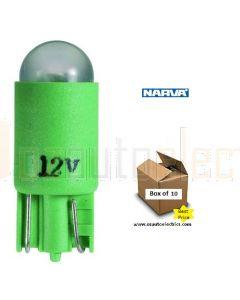 Narva L.E.D Wedge Globes (Box of 10) - Green, 12v T-10mm KW2.1 x 9.5d