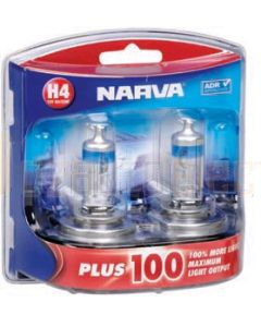 Narva 48342BL2 Halogen H4 Globe 12V 60/55W Plus 100 P43t (Blister Pack of 2)