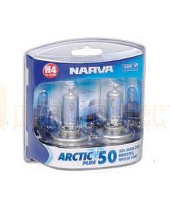 Narva 48677BL2 Halogen H4 Globe 12V 60/55W Arctic Plus 50 P43t (Blister Pack of 2)