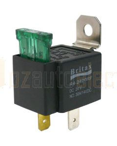 Britax Mini Relay Fused 12V 30Amp n/o 4 Pin with Blade Fuse Resistor