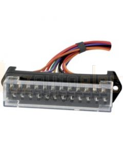 Narva 54426 12-Way Pre-Wired Standard ATS Blade Fuse Box with Transparent Cover and Two Power Inputs