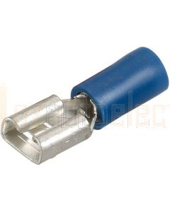 Narva 56136 Blue Female blade Crimp Terminal, Flared Vinyl Insulated 4mm (Box of 100)