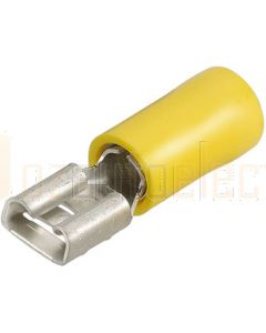 Narva 56138 Yellow Female Blade Crimp Terminal, Flared Vinyl Insulated (Box of 100)