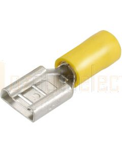 56140 Yellow Female Blade Crimp Terminal, Flared Vinyl Insulated 5-6mm (Box of 100)