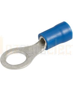 Narva 56080BL Blue Ring Terminal Flared Vinyl, Insulated (Eye Terminal) 4mm (Blister Pack)