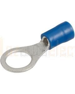 Narva 56082BL Blue Ring Terminal Flared Vinyl, Insulated (Eye Terminal) 4mm (Blister Pack)