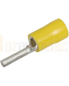 Narva 56216 Yellow Pin crimp terminal flared vinyl insulated 2.5mm dia (Pack of 25)