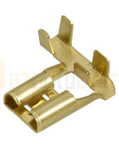 Narva 56228 Flag Female Terminal Non-insulated Brass with Locking tab for Single Q.C Housings 6.3 x 0.8mm dia (Pack of 100)