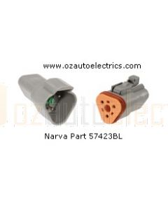 Narva 57423BL 3 Way Waterproof DEUTSCH Connectors - Male and Female (Blister Pack)