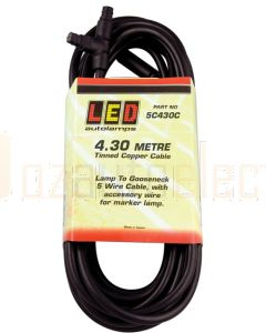 LED Autolamps Lamp 5C430C 4.3 Meter Trailer Plugin Cable Lamp to Gooseneck Cable