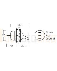 Narva Duckbill Off/On Toggle Switch with Blue L.E.D