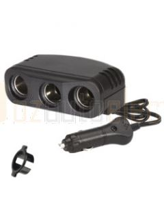 Narva 81048BL Cigarette Lighter Plug with Extended Lead and Triple Accessory Sockets