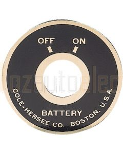 Cole Hersee Battery Master Switch Off/On Faceplate