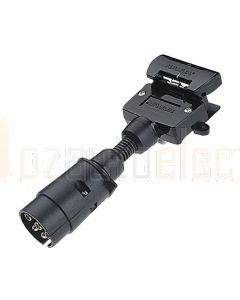 Narva 82240BL 5 Pin Large Round Socket on Car to 7 Pin Flat Plug on Trailer Adaptor