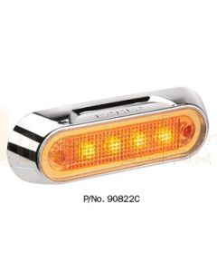 Narva 90822C 10-30 Volt L.E.D Front End Outline Marker Lamp (Amber) with Chrome Deflector Base and 0.5m Cable