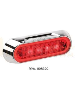 Narva 90832C 10-30 Volt L.E.D Rear End Outline Marker Lamp (Red) with Chrome Deflector Base and 0.5m Cable