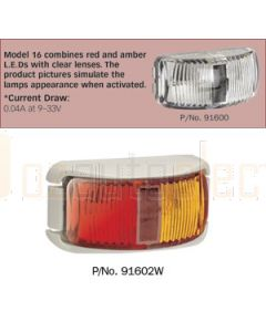 Narva 91602W 9-33 Volt L.E.D Side Marker Lamp (Red / Amber) with White Base and 0.5m Cable