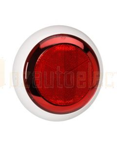 Narva 94339 Red Retro Reflector with Chrome Ring and Contoured 150mm dia White Base