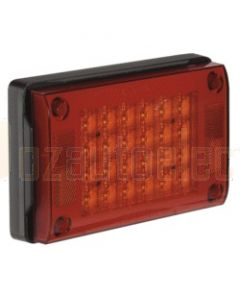 Narva 94830 9-33 Volt L.E.D Rear Stop/Tail Lamp (Red) with 0.5m Cable, Black Housing and Security Caps