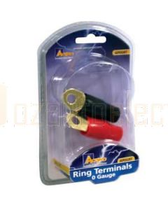 Aerpro AP0GRT 0 Gauge Gold Ring Terminals 1 Red & 1 Black