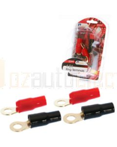 Aerpro AP4GRT 4 Gauge Ring Terminals 2 Red & 2 Black