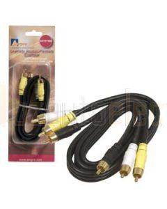 Aerpro AP75YWB 0.75M a/v lead yel/wht/black rca 3male to 3m plugs 75 ohm coax