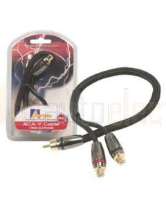 Aerpro APF1F2M 1F/2m 30cm Y Cable Cotton Covered with Metal Plugs