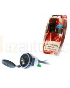 Aerpro APUSB35E 12V Adaptor Socket With USB Charging & 3.5mm Input