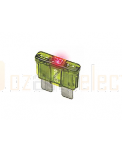 Littelfuse Auto Blade Fuses with Blown Fuse Indicator, ATO/ATC Size 30A 32VDC