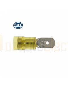 Hella PC Insulated Male Blade Terminals - Yellow (Pack of 100) (8519)