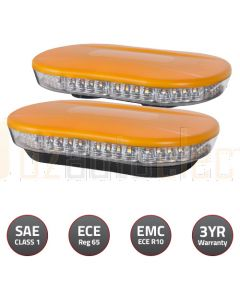 Britax BF400 Series LED Microbar Amber LEDs, Clear Lens, Amber top, Single Bolt Mount