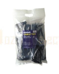 Narva 56408 Standard Duty Black Cable Ties - 4.8 x 370mm (Pack of 100)