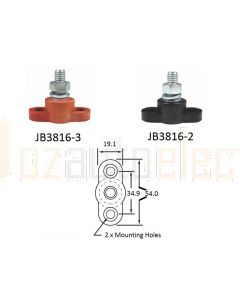 Bussmann JB3816-3 Stud Junction Block 3/8-16 Red 250A