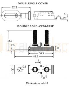 Bussmann CFBAR2M8SPBK 300A 2 Pole M8 STUD Battery Mounted Marine Rated Battery Fuse Bar Double Pole Kit Black