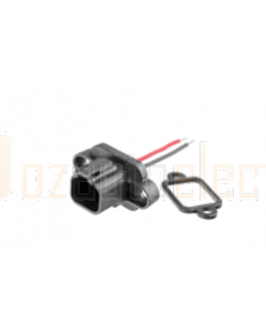 Deutsch DT2-PM 2 Pin Flange Mounted Receptacle with Soldered Wires and Rubber Gasket