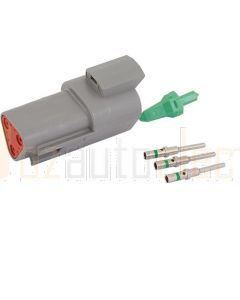 Deutsch DT Series 3 Way Receptacle Connector Kit with Green Band Contacts