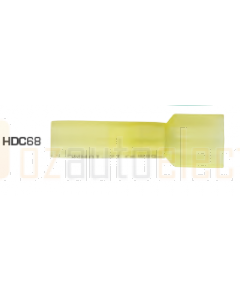 Quikcrimp HDC68 Yellow 6.3mm Male Blade Terminal - Fully Insulated Pack of 100