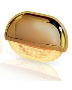 Hella Marine 2JA998560-331 Amber LED Easy Fit Step Lamp - 12-24V DC, Gold Plated Cap