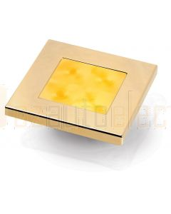 Hella Marine 2XT980587-031 Amber LED Square Courtesy Lamp - 12V DC, Gold Plated Rim